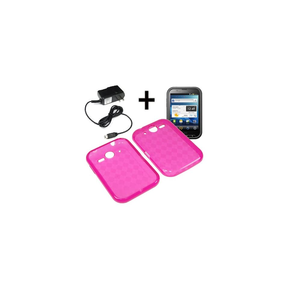 BW TPU Sleeve Gel Cover Skin Case for AT&T Pantech Pocket, Nuli P9060 + Travel Charger Pink Checker