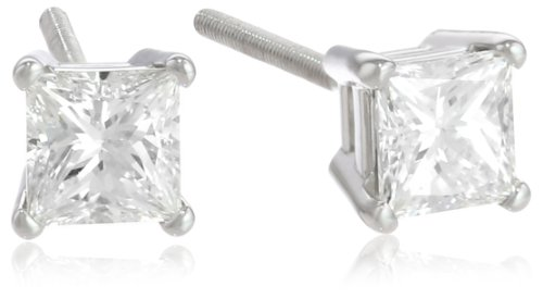 IGI Certified Platinum Princess-Cut 4-Prong Diamond Stud Earrings (3/4 cttw, G-H Color, VS2 Clarity)