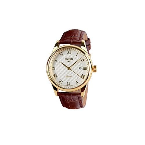 Zonman® Man's Luxury Faux Leather Band Roman Numbers Date Dial Wrist Quartz Watch (Gold)