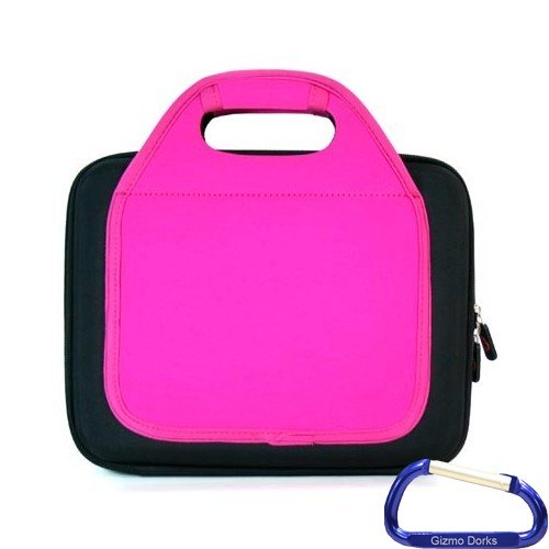 Gizmo Dorks Hard Shell EVA Case with Neoprene handles and shoulder strap (Pink) with Carabiner Key Chain for the Apple iPad 2