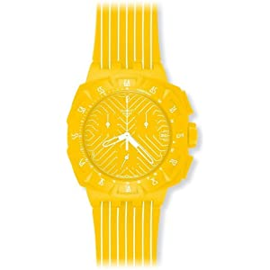 Swatch Men's SUIJ400 Yellow Run Multi-Color Strap Watch