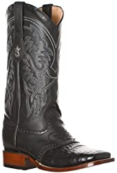 Los Altos Men's Caiman Belly Leather Wide Square Toe Boots