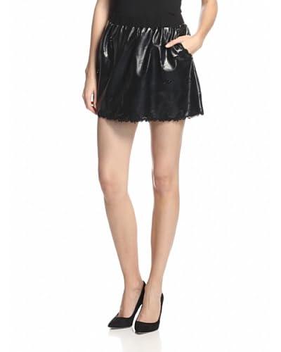 Anna Sui Women's Laser Cut Faux Leather Skirt
