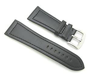 28mm Quality Genuine Leather Plain Black Watch Band - with Spring Bars