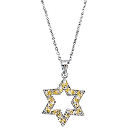 C.Z. (.925) STERLING SILVER YELLOW STAR OF DAVID RHODIUM PLATED PENDENT (Nice Holiday Gift, Special Black Firday Sale)
