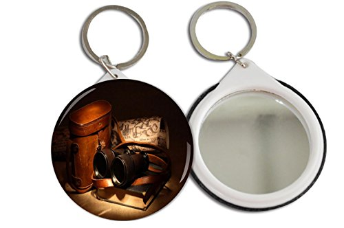 Rikki Knighttm Vintage Old Binoculars With Bag Design 2.25 Inch Keychain Button Mirror Key Chain