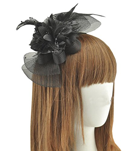 Fascinator Clip with Feather Flower Bridal Hair Accessory Wedding Party Brooch Pin (Black)