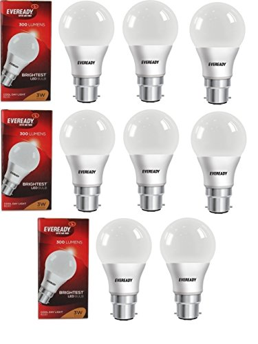 3W Cool Day Light 300 Lumens LED Bulb (Pack of 8)
