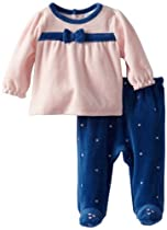 ABSORBA Baby-Girls Newborn Bow V Footed Pant, Pink/Navy, 3-6 Months