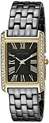 Anne Klein Women's AK/2138BKGB Swarovski Crystal-Accented Gold-Tone and Black Ceramic Bracelet…