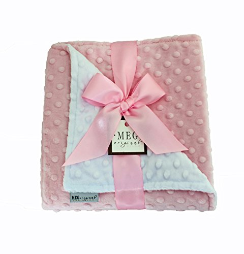 MEG Original Pink and White Minky Dot Baby Girl Blanket
