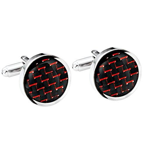 gemelli-in-titanio-e-fibra-di-carbone-lucida-colori-nero-e-rosso-forma-rotonda