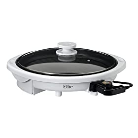 Maxi-Matic EMG-980W Elite Gourmet 14-Inch Round Health Grill with Non-Stick and Glass Lid, White