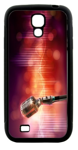 Rikki Knighttm Vintage Audio Microphone On Red Retro Style Design Samsung® Galaxy S4 Case Cover (Black Hard Rubber Tpu With Bumper Protection) For Samsung Galaxy S4 I9500