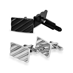 Cufflinks for Mens Shirt -Stainless Steel Fashion Jewelry Set comes with case. Designer custom made stud cufflink with box holder, Perfect for groomsmen gifts, all men, and tie bars. Better than sterling silver, gold, brass, and copper (Silver)