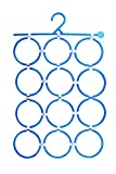 HOKIPO 1 Piece Multi-Purpose 12 Rings Detachable Plastic Hanger for Scarves, Belts, Ties and More (Blue)