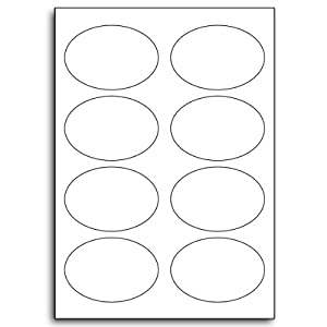 Multi Purpose White Permanent Oval Labels - 8 Labels Per Sheet - 50 Sheets 64mm x 95mm