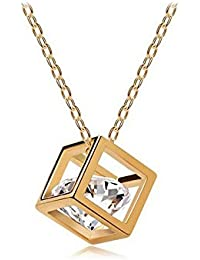 Nakabh Timeless Crystal Stone Gold Pendant Chain/Necklace For Women & Girls