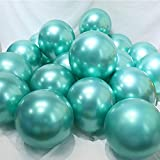 BALONAR 3.2g 12Inch 100pcs Metallic Chrome Balloon in Green for Wedding Birthday Party Decoration (Green) (Color: Green)