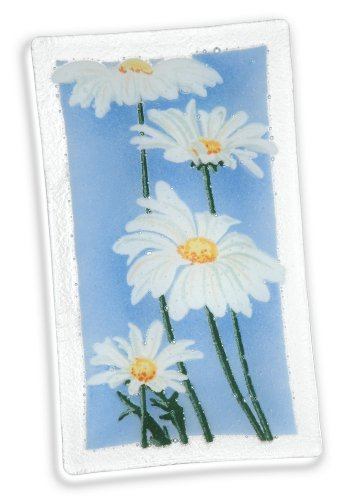 Peggy Karr Glass Hand Crafted 4 Daisies Rectangular Tray, 10-Inch