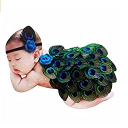 Bestbaby Baby Girl 0-10 Months Headband With Peacock Feather Wing Costume Photo Prop Outfit