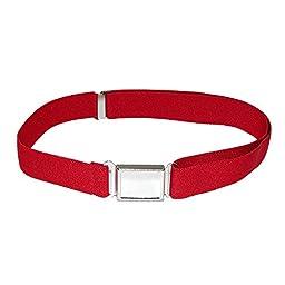 Jackster Kid\'s Elastic Adjustable One Size Belt w/ Magnetic Metal Buckle (Red)