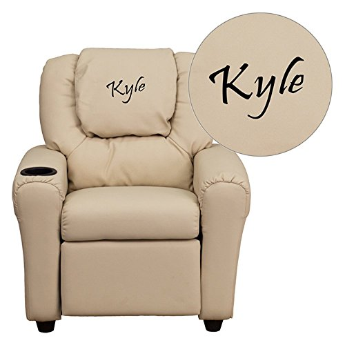 """Personalized Vinyl Kids Recliner With Cup Holder And Headrest Beige/36.5""""L x 24""""W x 27""""H"""