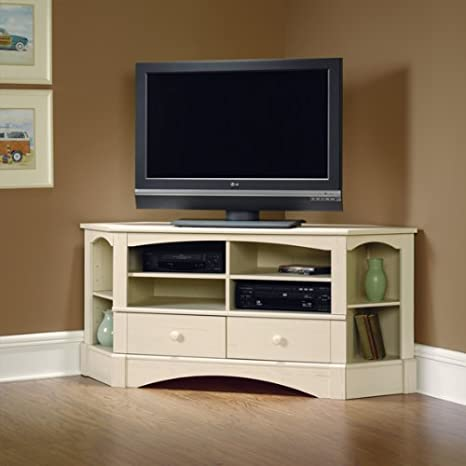 Corner TV Stand Entertainment Center - Antiqued Finish
