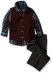 Nautica Baby Boys\' Twill Dress Wear Vest Set, Bright Burgundy, 12 Months