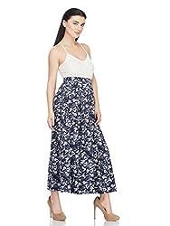 Femella Women's Skirt(DS-1599709-923_Navy/White_Medium)