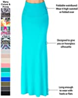 MHOC Maxi Skirt - Long Casual Skirt Foldable High Waist - Solid Colors & Prints