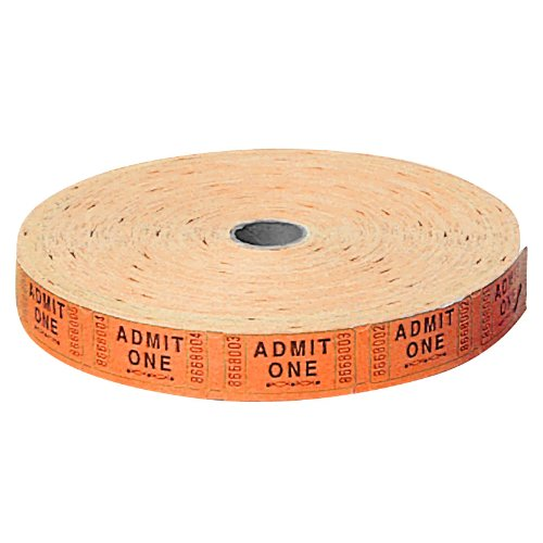 US Toy Carnival Tickets Roll Admit 1 Party Supplies Cards (1 Roll of 2000), Orange (Admit One Ticket Roll compare prices)