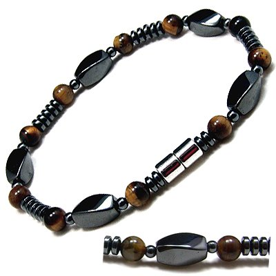 Men&#8217;s Magnetic Hematite Tiger&#8217;s Eye Bead Bracelet &#8211; 8.5&#8243;