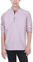 EVEN Men's Cotton Regular Fit Kurta(SSK MMS9330 PH01, Peach, M)
