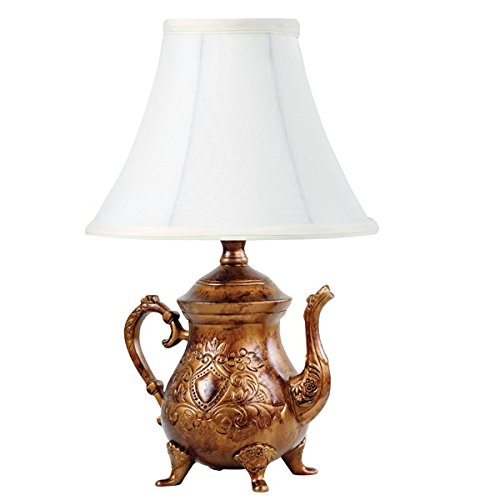 Vintage Brushed Bronze Teapot Lamp with Shade (Teapot Table compare prices)