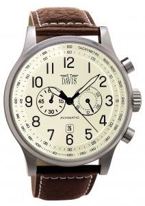 Davis XXL Aviamatic Watch with Waterproof Chronograph and Top-stitched Brown Leather Strap