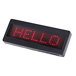 KKmoon Programmable Red LED Scrolling Name Badge Sign Business Card Tag Moving Message Display