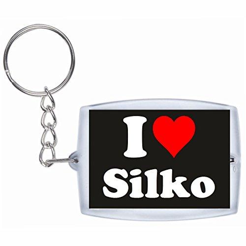 """ESCLUSIVO: Portachiavi/ Keychain """"I Love Silko"""" in Nero, una grande idea regalo per il vostro partner, la famiglia e molti altri - regalo di Pasqua, Partner di Pasqua rimorchio, ciondoli zaino, sacchetto incanta, incanta amore, ti amo, amici, amanti, accessorio, Made in GERMANY."""