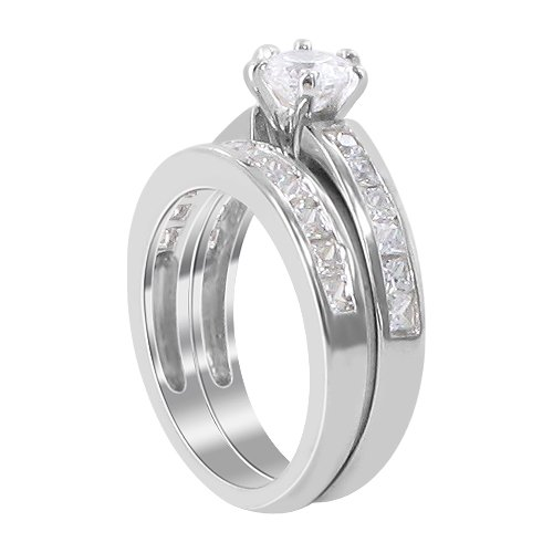 Sterling Silver 6mm Front Round Shape Clear 5mm Cubic Zirconia 3mm Engagement Band Ring Size 6