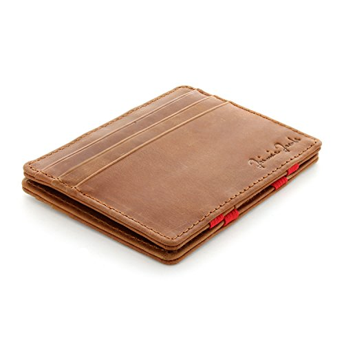 Jaimie Jacobs Men Magic Wallet Flap Boy Slim Genuine Leather (Vintage Cognac with Red)