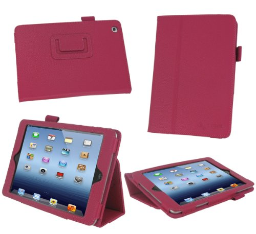 rooCASE Apple iPad Mini Case - Slim Folding Dual-Station Case Tablet, MAGENTA (With Smart Cover Auto Wake / Sleep)