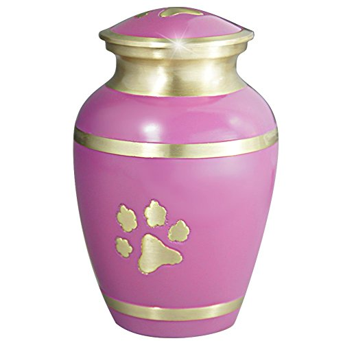 Meilinxu - Pet Funeral Urns for Dogs Ashes - Cremation Urns for Cats Ashes - Hand Made in Brass - Attractive Display Burial Urn - Pet Memorial Baby Urn - Cremated Remains (Pink Paw Print, Large Urn) (Pink Pet Urns compare prices)