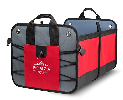 Car trunk organizer by Rogga - Premium collapsible cargo solution for groceries storage - Folding console fits perfectly in SUV and van. Sturdy easy to clean tote with rigid baseplates and mesh.