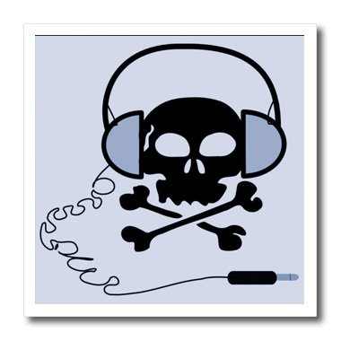 Ht_38997_2 Florene Childrens Art - Black Skull With Blue Headphones - Iron On Heat Transfers - 6X6 Iron On Heat Transfer For White Material
