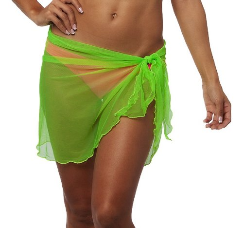The Mesh King Women'S Short Mesh Beach Cover-Up Swimsuit Tunic One Size Neon Green