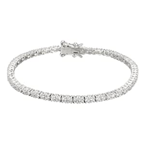 Platinum-Plated Sterling Silver and Simulated Diamond Tennis Bracelet, 7.25