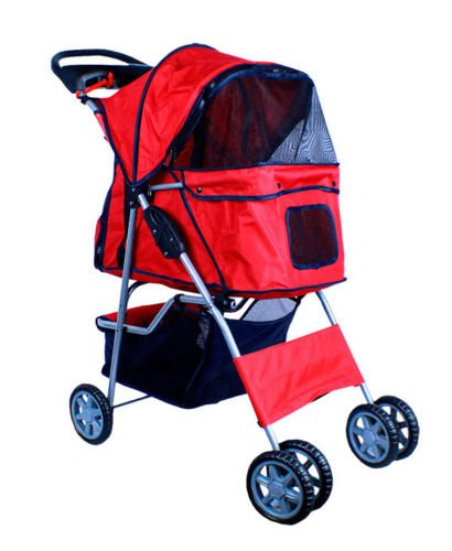 New Deluxe Folding 4 Wheel Pet Dog Cat Stroller Carrier W Cup Holder Tray - Red front-873853