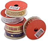 "6 Pack Assorted Christmas Organza Ribbon 1""W x 9""L"
