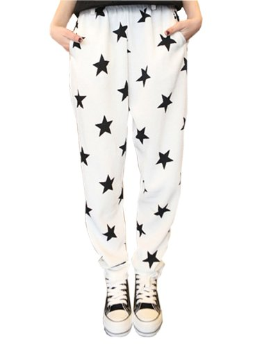 HaboZoo Womens Black White Star Print Baggy Harem Pants Trouser Onesize