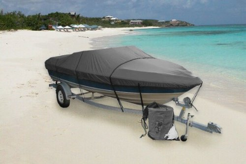 Gray Heavy Duty Waterproof Mooring Boat Cover Fits Length 14 15 16 Superior Trailerable Boat Covers 600 Denier V-Hull Fishing Aluminum Ski Boat Runabout Pro Bass Inboard Outboard Boat Covers
